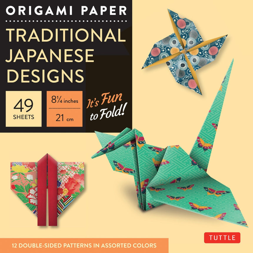 Origami Paper Traditional Japanese Designs Large 8 1/4""