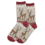 Women's Reindeer Crew Socks in Hemp Heather