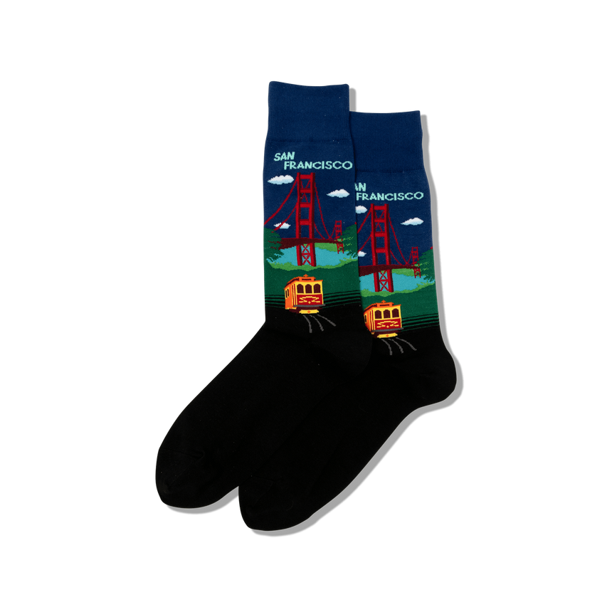 Men's Golden Gate Bridge Socks in Dark Blue