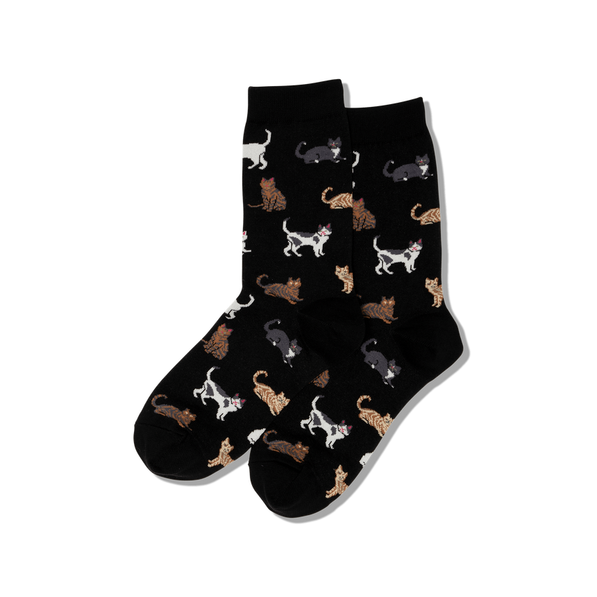 Women's Cats Crew Socks in Black