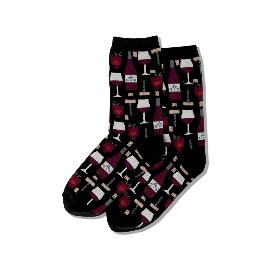 Women's Wine Glasses Crew Socks in Black