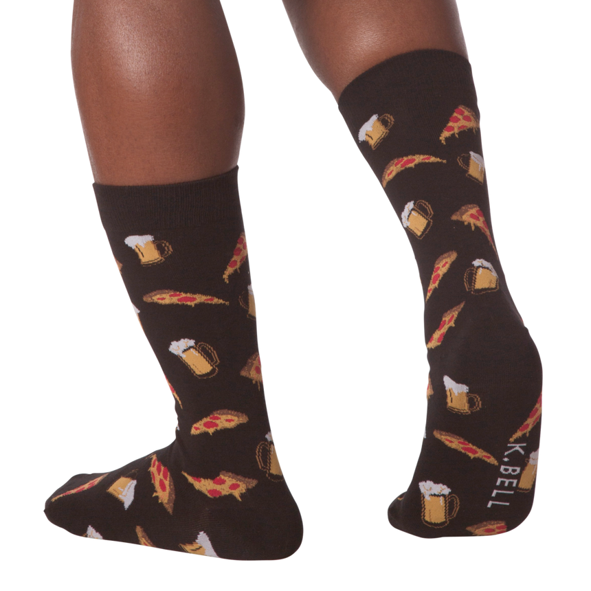 Men's Pizza & Beer Crew Socks in Black