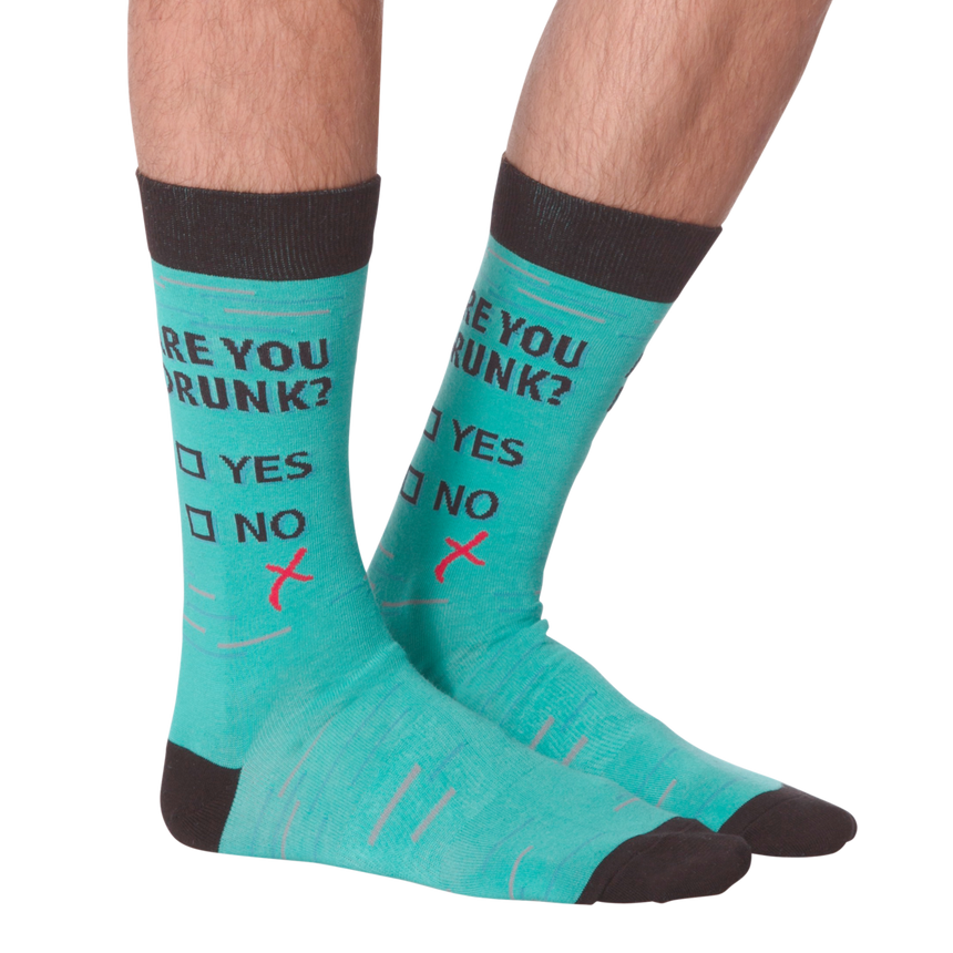 Men's Not Drunk Crew Socks in Teal