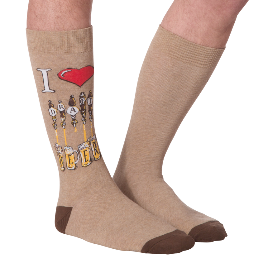 Men's Draft Beer Crew Socks in Brown
