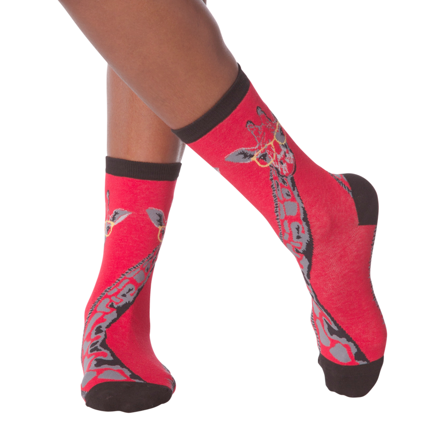 Women's Giraffe Crew Socks in Red