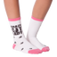 Women's Crazy Cat Lady Crew Socks in Pink and White