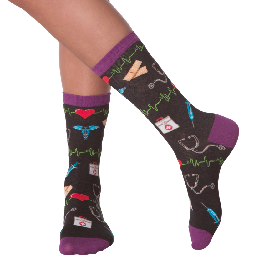 Women's Medical Supplies Crew Socks in Black