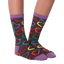 Women's Colorful Hearts Crew Socks in Black and Purple