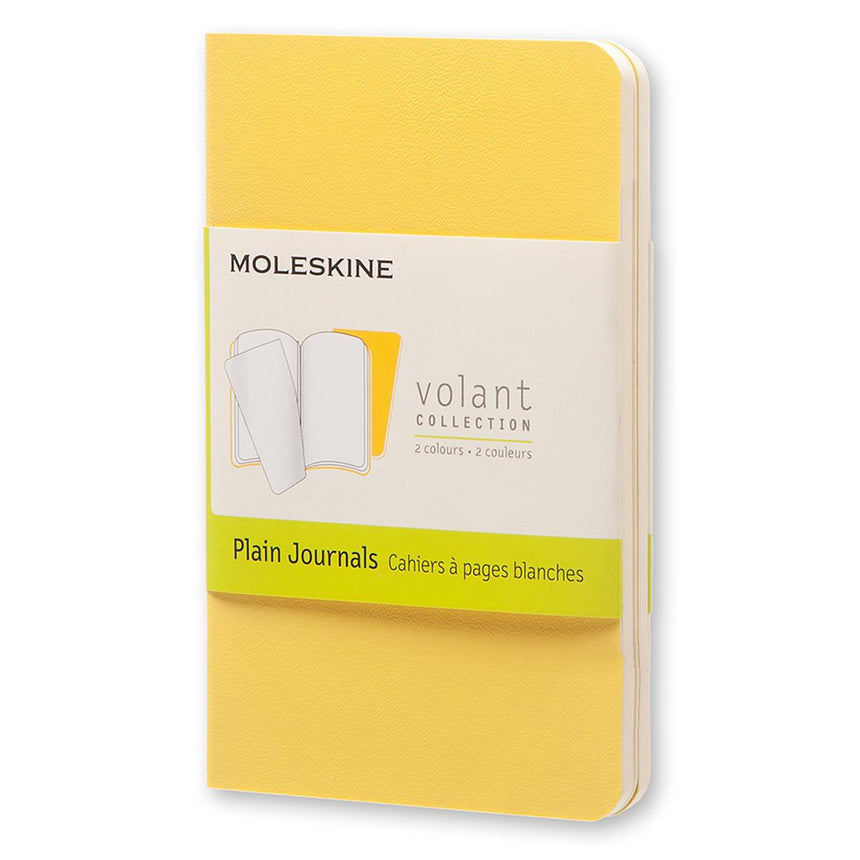 "Moleskine Volant Journals Plain Sunflower Yellow Soft Cover XS (2.5"" x 4"") - Set of 2"