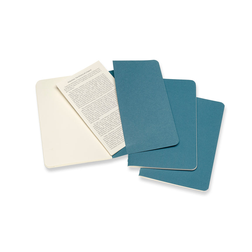 "Moleskine Cahier Plain Journals Teal Small (3.5"" x 5.5"") Set of 3"