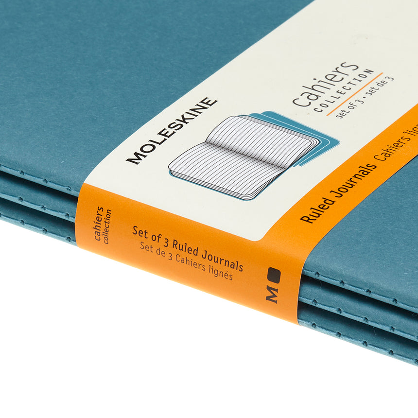 "Moleskine Cahier Ruled Journals Teal Large (5"" x 8.25"") Set of 3"