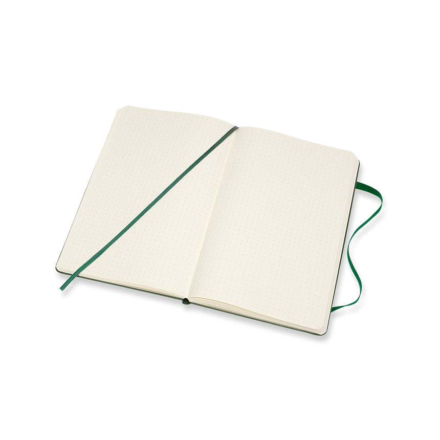 "Moleskine Classic Dotted Notebook Green Hard Cover Large (5"" x 8.25"")"