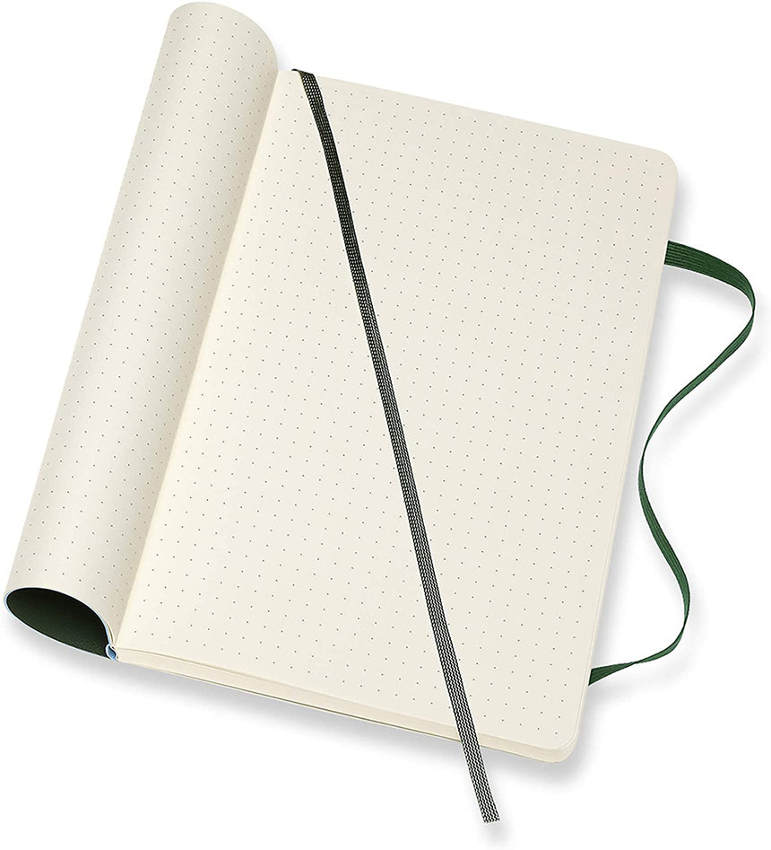 "Moleskine Classic Dotted Notebook Soft Cover Green Large (5"" x 8.25"")"
