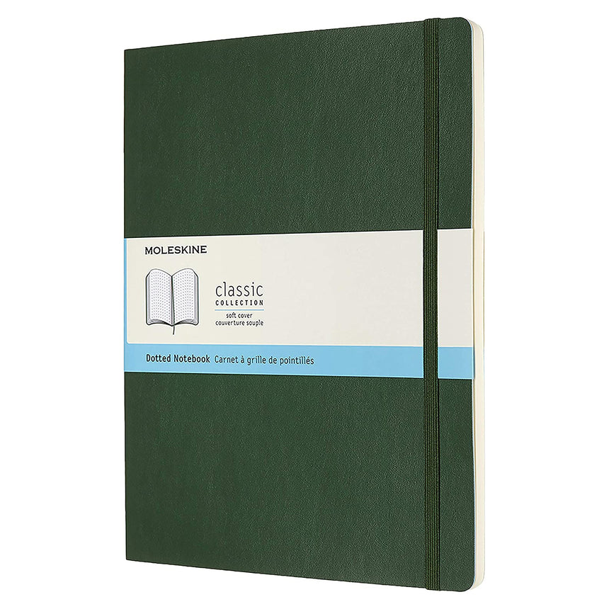 "Moleskine Classic Dotted Notebook Soft Cover Green XL (7.5"" x 9.5"")"