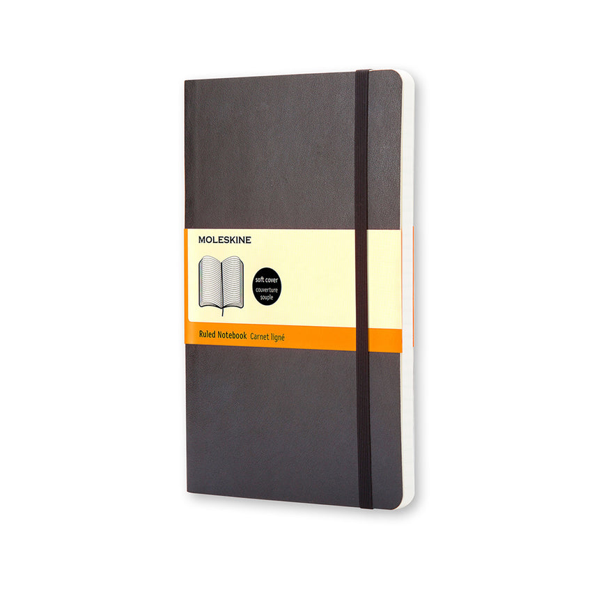 "Moleskine Classic Notebook Black Soft Cover Large (5"" x 8.25"")"