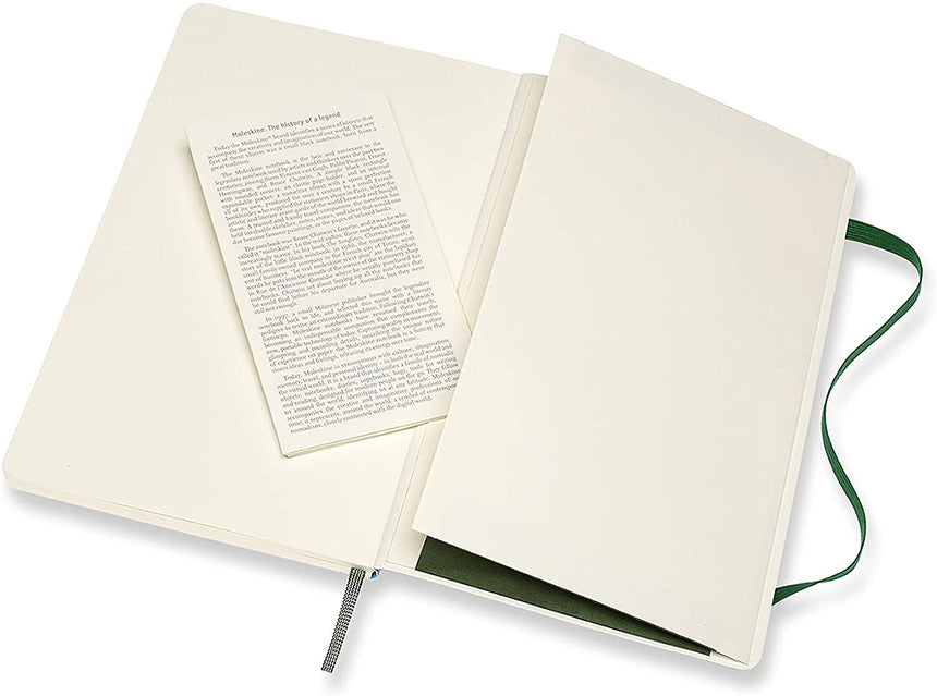 "Moleskine Classic Plain Notebook Soft Cover Green Large (5"" x 8.25"")"