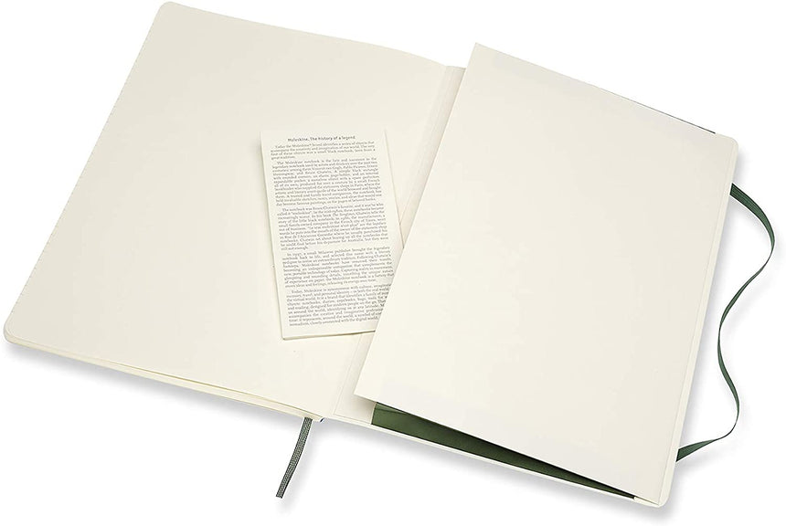 "Moleskine Classic Plain Notebook Soft Cover Green XL (7.5"" x 9.5"")"