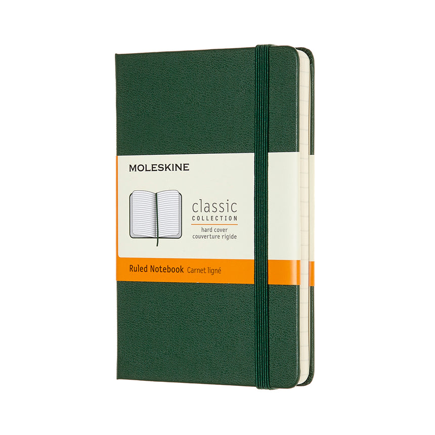 "Moleskine Classic Ruled Notebook Green Hard Cover Small (3.5"" x 5.5"")"