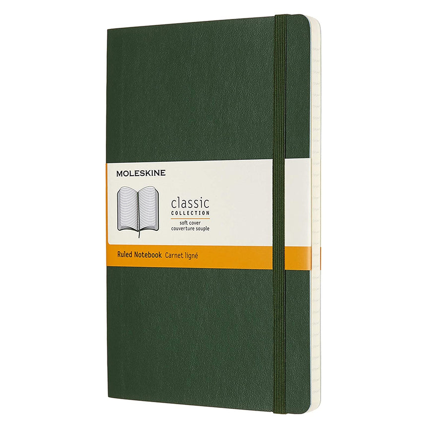 "Moleskine Classic Ruled Notebook Soft Cover Green Large (5"" x 8.25"")"