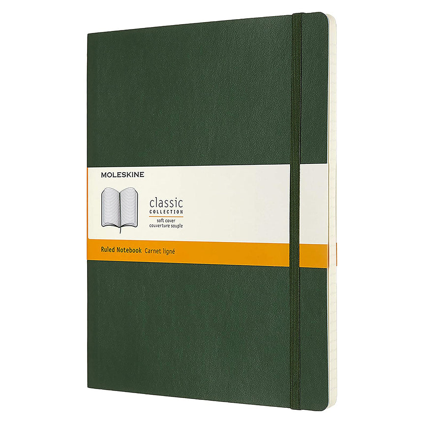 "Moleskine Classic Ruled Notebook Soft Cover Green XL (7.5"" x 9.5"")"