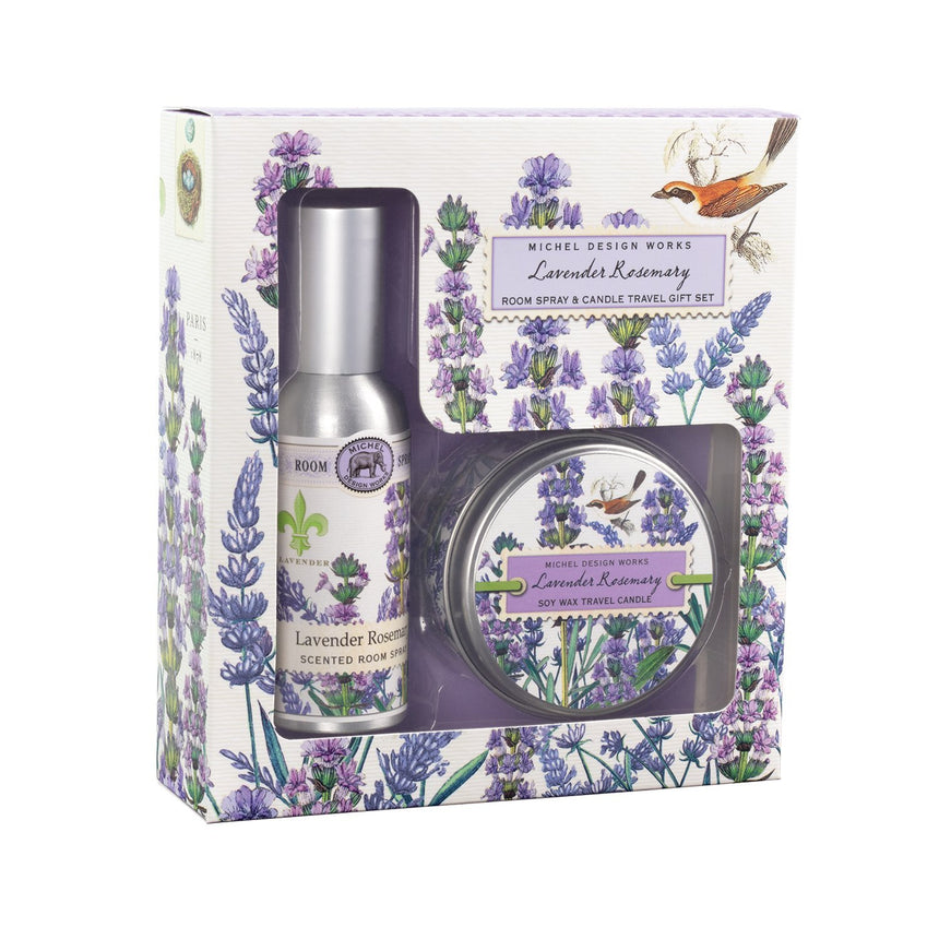 Lavender Rosemary Room Spray & Candle Travel Gift Set