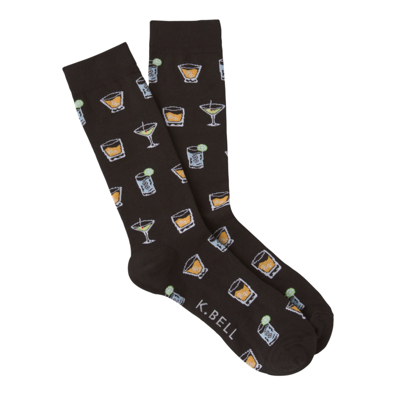 Men's Cocktails Crew Socks in Black