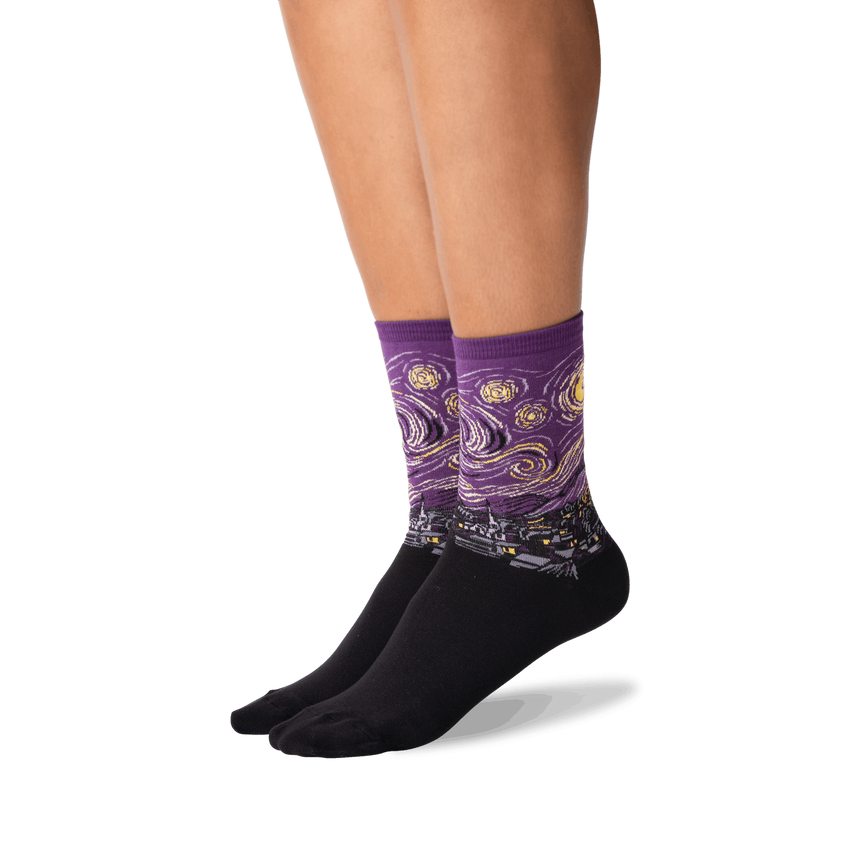 Women's Van Gogh's Starry Night Socks in Purple