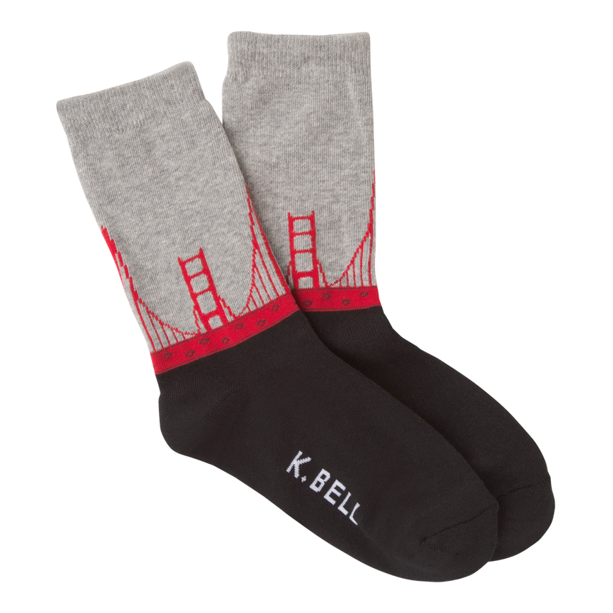 Women's Golden Gate Bridge Crew Socks in Black and Gray