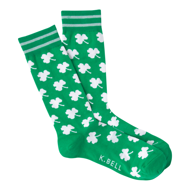 Men's White Shamrocks Crew Socks in Green