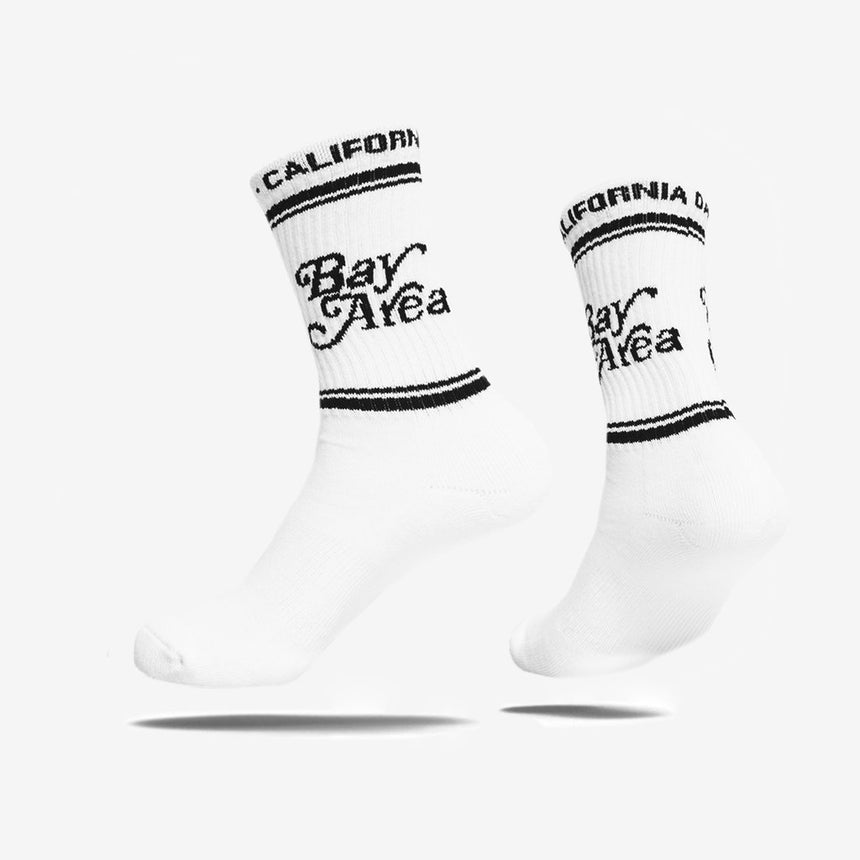 Bay Area Knit Crew White Socks