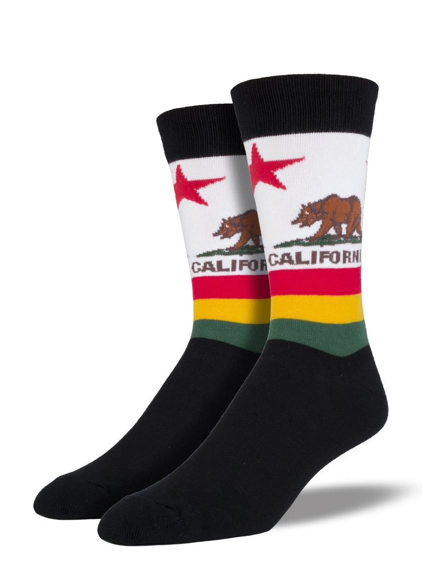 Men's California Flag Socks in Black