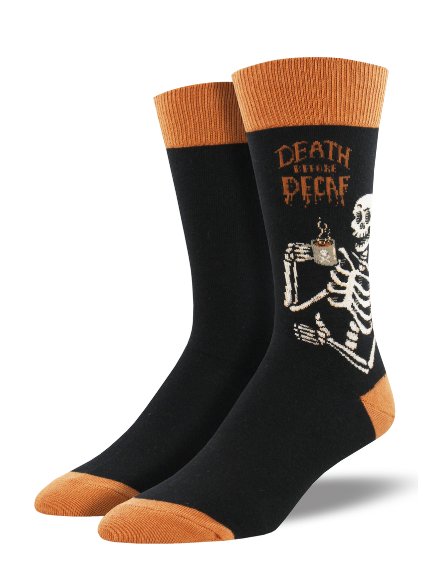 "Men's ""Death Before Decaf"" Socks in Black"
