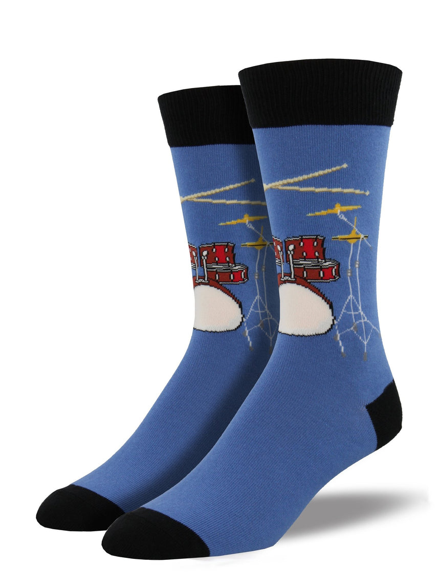 "Men's ""Drum Solo"" Socks in Blue Fog"