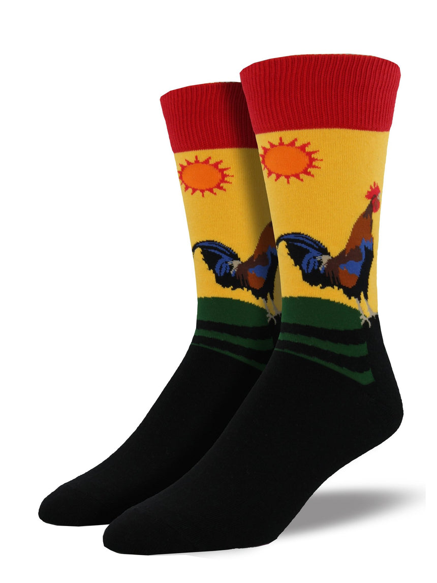 "Men's ""Early Riser"" Rooster Socks in Morning Gold"