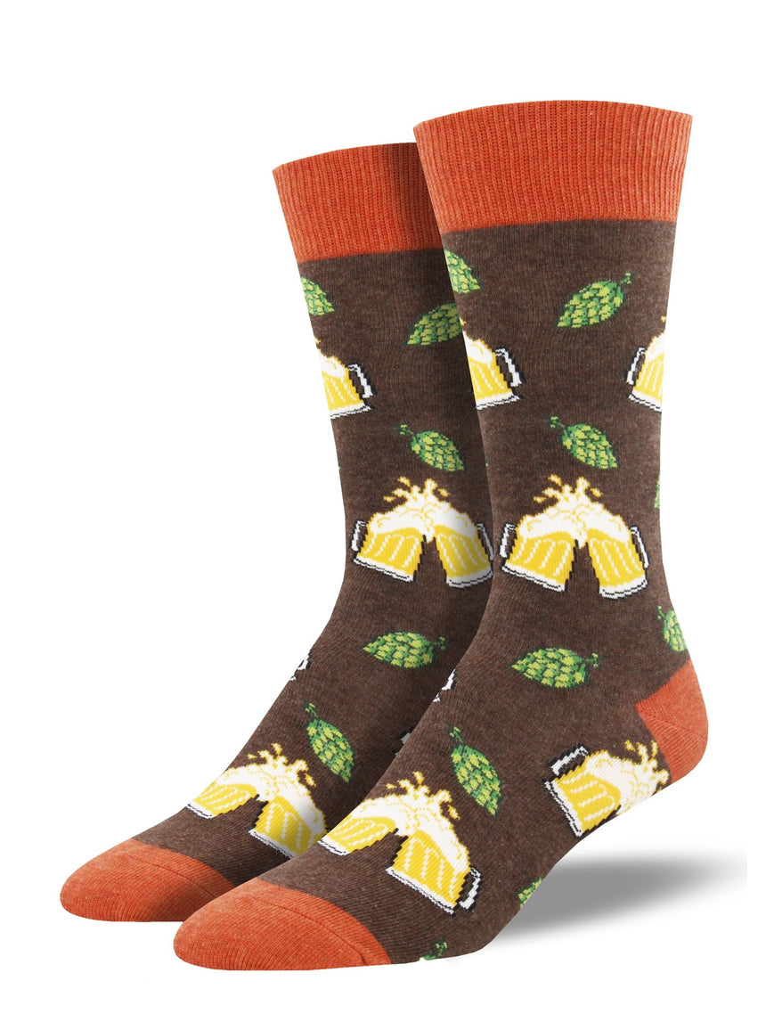 "Men's ""Hoppier Together"" Socks (Brown Heather)"