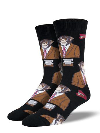 "Men's ""Monkey Biz"" Socks in Black"