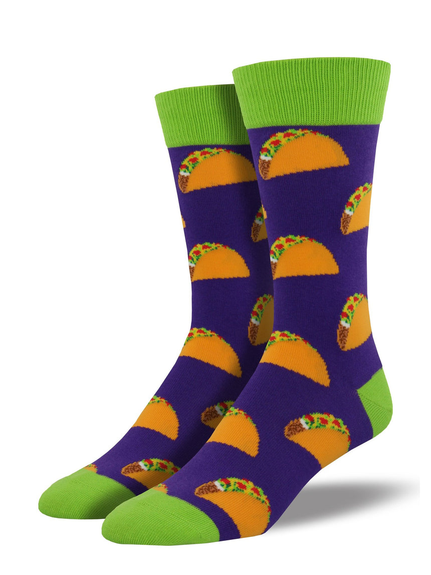 "Men's ""Tacos"" Socks in Purple"