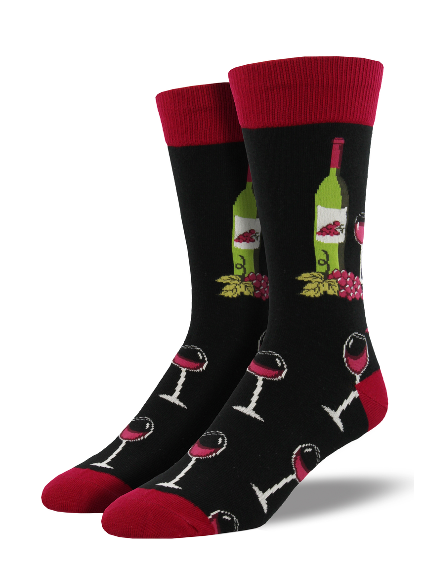 "Men's ""Wine Scene"" Socks in Black"