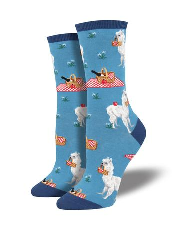 "Women's ""Alpaca Lunch"" Socks in Blue"
