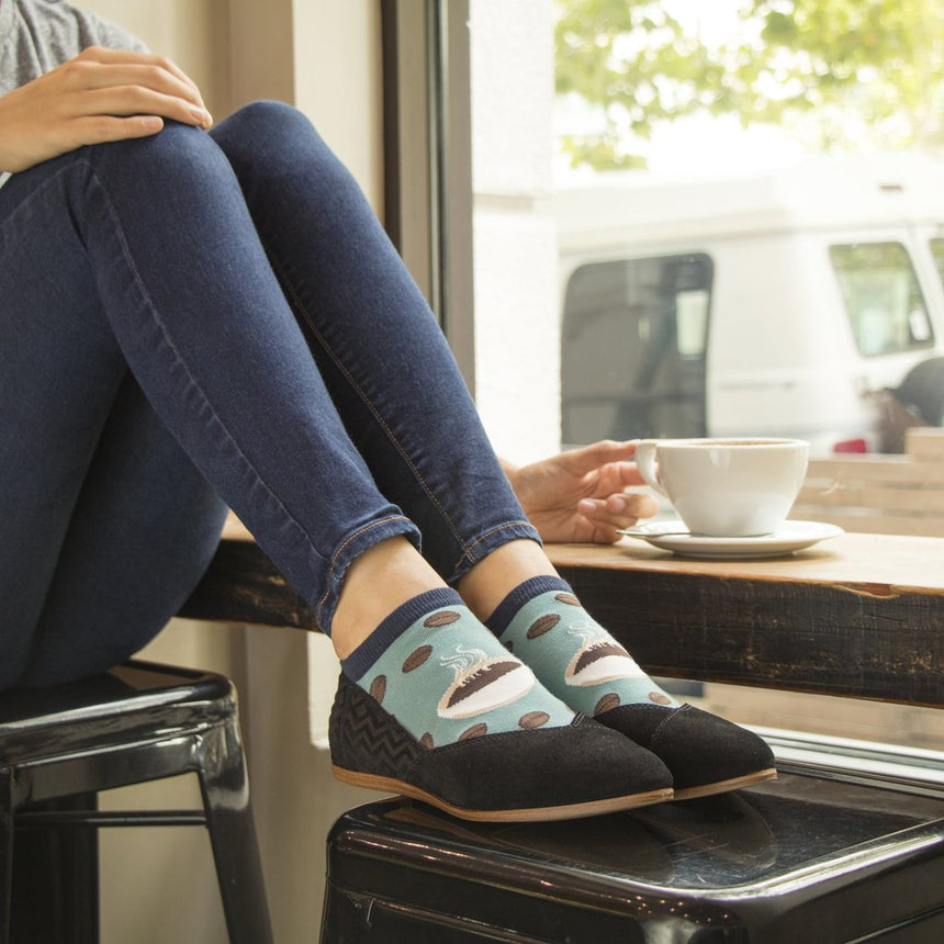 "Women's ""Brewtiful Day"" Ped Socks in Blue"