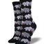 "Women's ""Elephant Love"" Socks in Black"