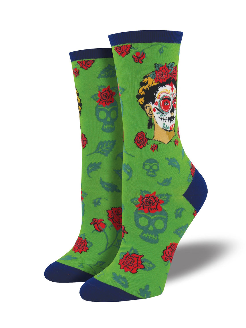"Women's Frida Kahlo ""Dia De Los Frida"" Socks in Clover"