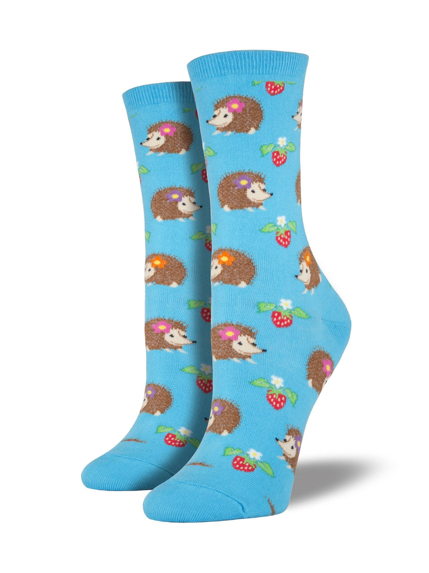 Women's Hedgehog Socks in Bright Blue