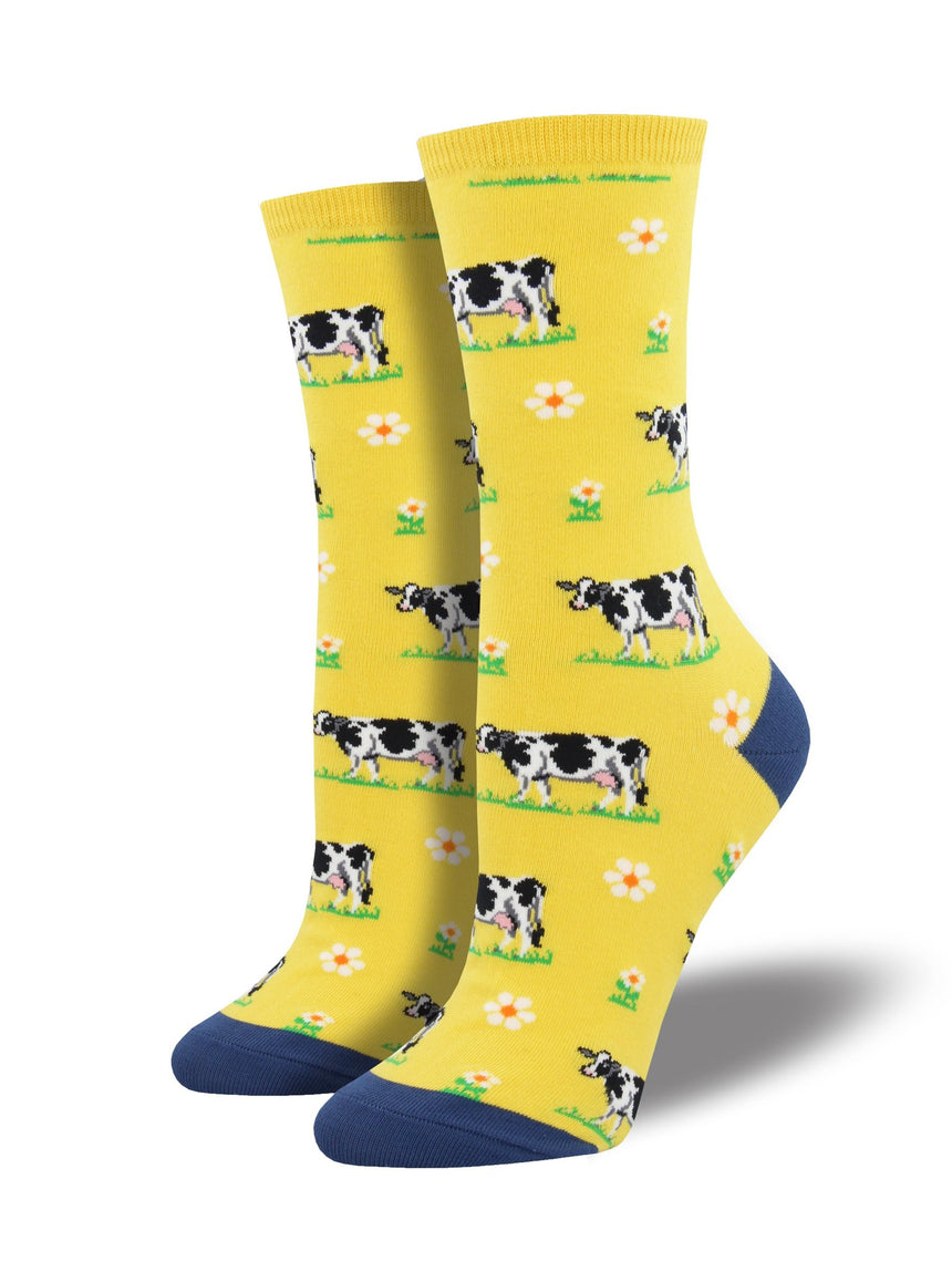 "Women's ""Legendairy"" Cow Socks in Yellow"