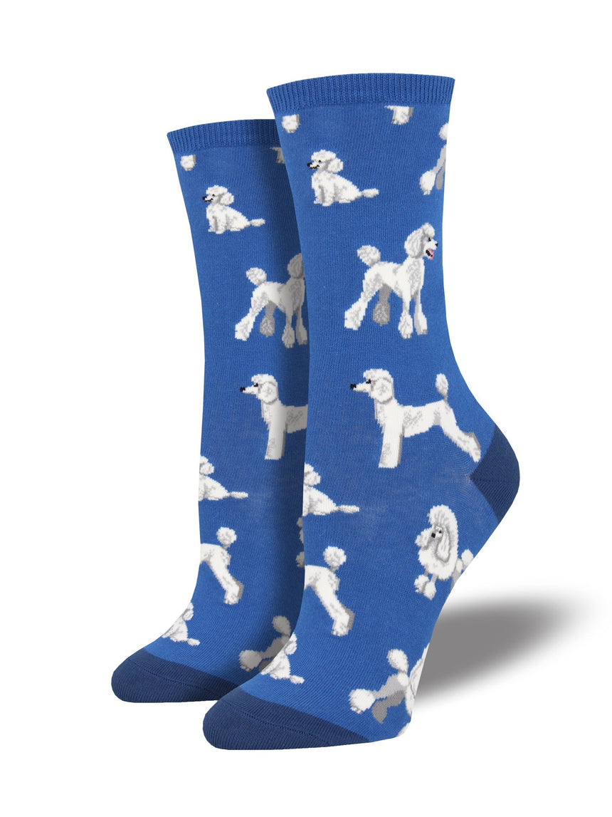 "Women's ""Oodles of Poodles"" Socks in Blue"