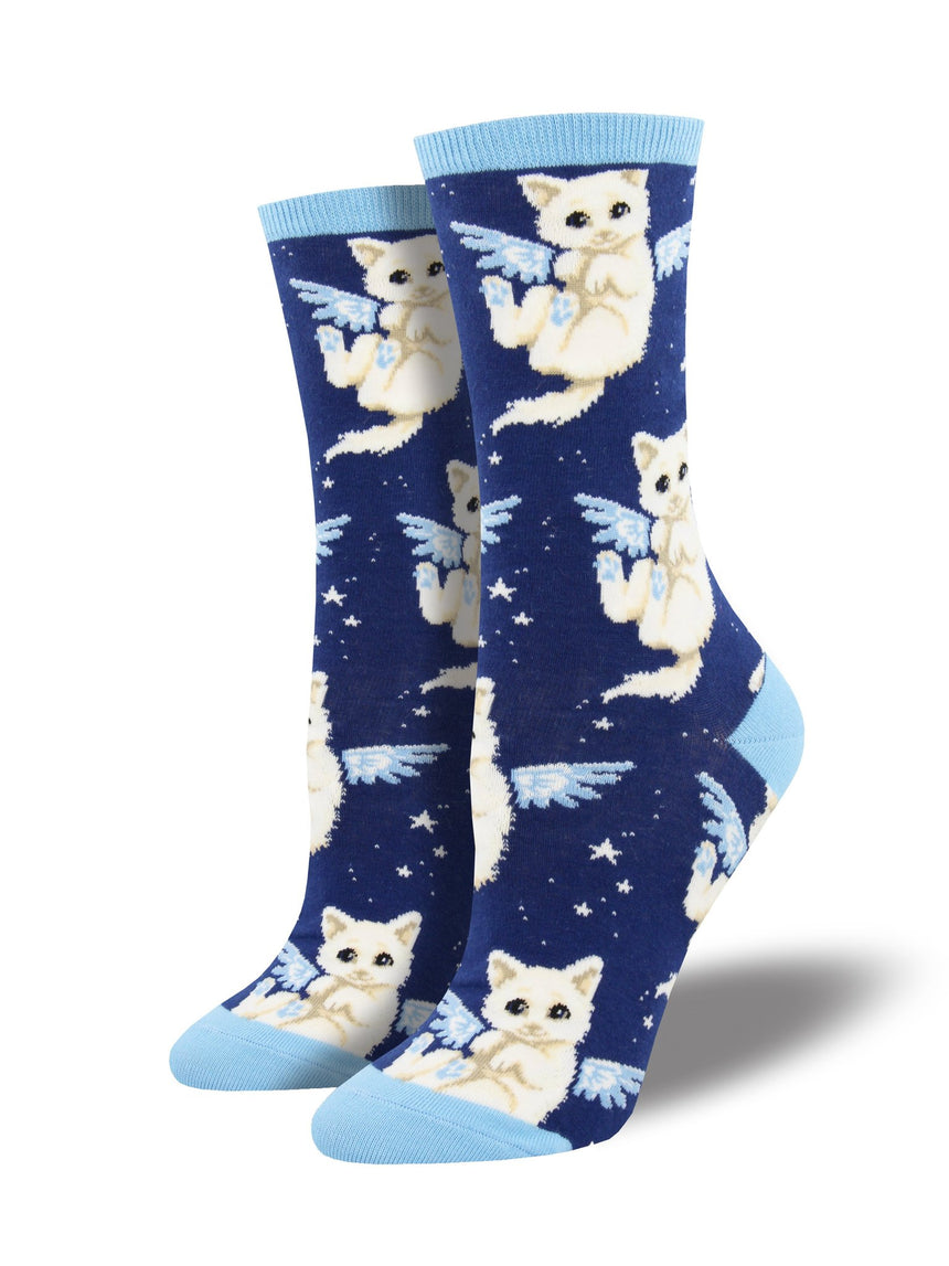 "Women's ""Purrfect Angel"" Cat Socks in Navy"