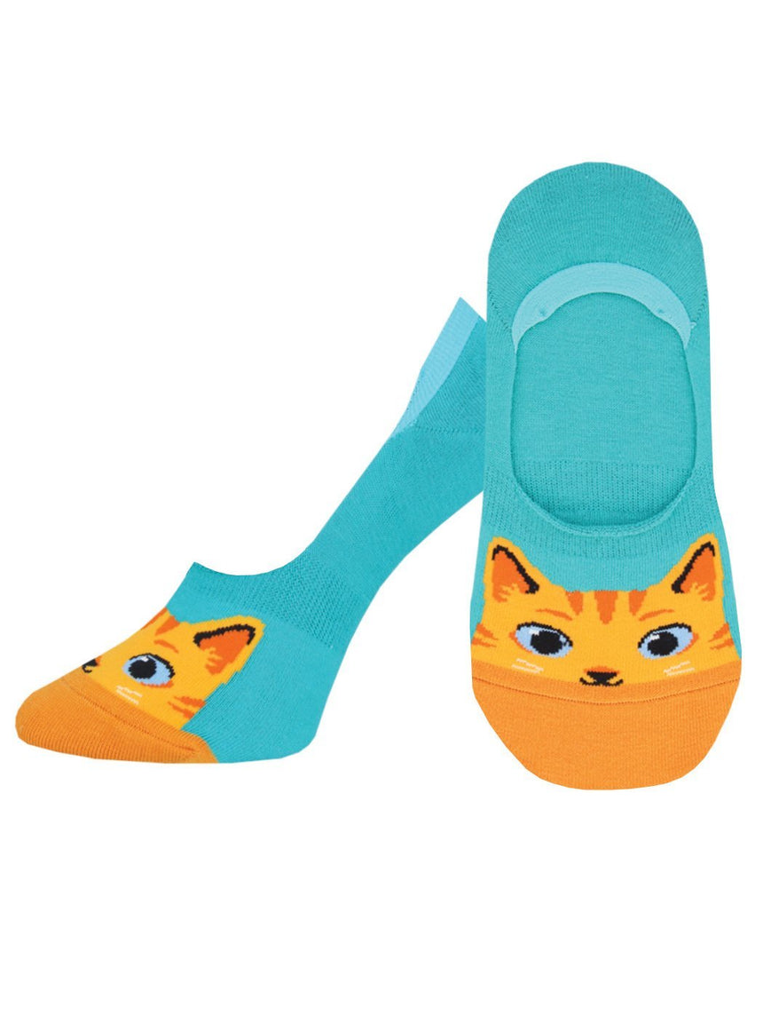 "Women's ""The Cat's Meow"" Ankle Socks in Teal"