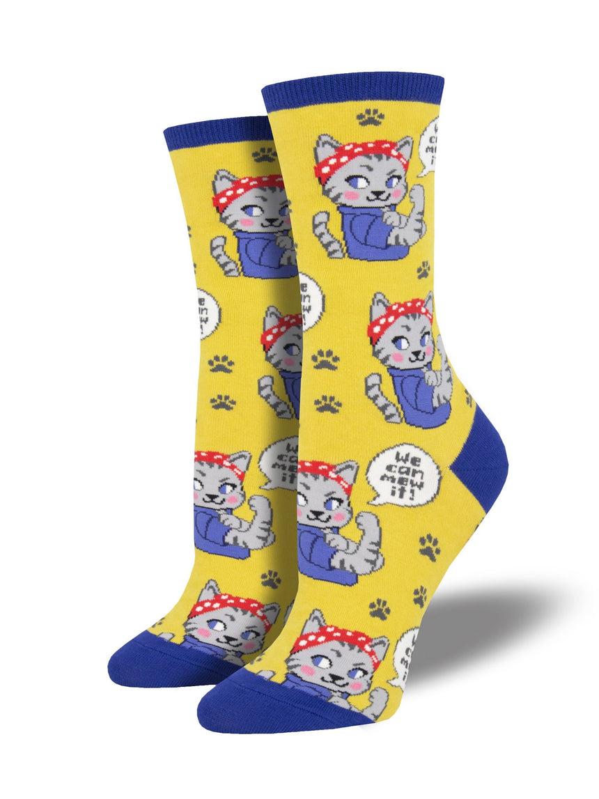 "Women's ""We Can Mew It"" Socks in Yellow"