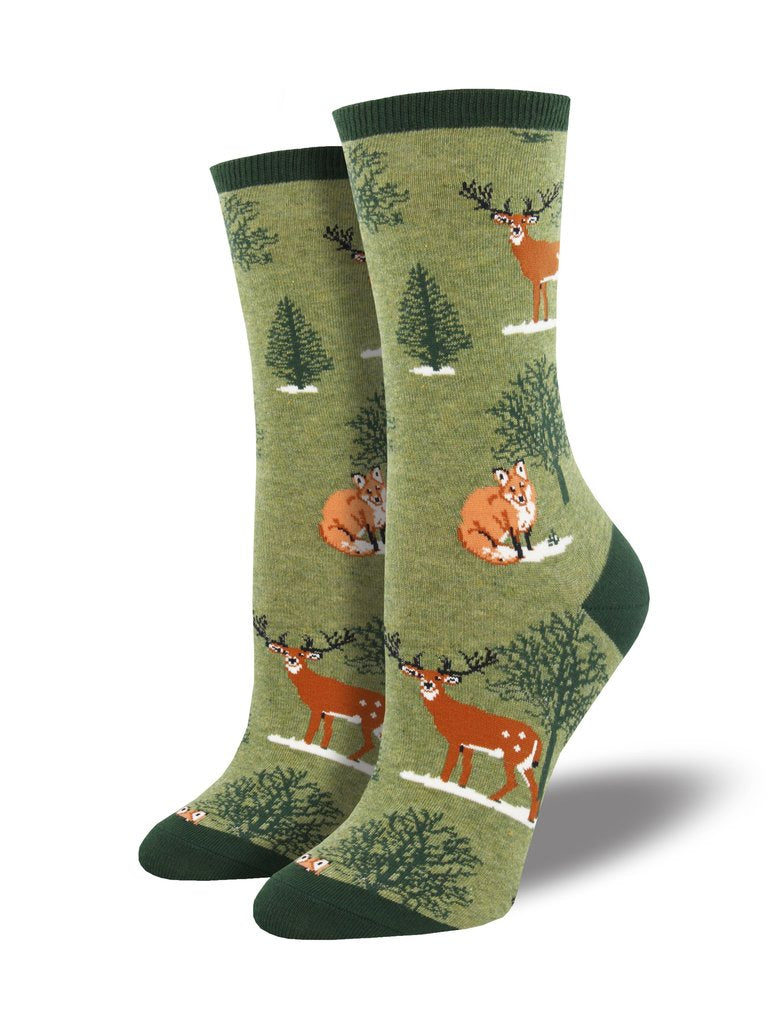 "Women's ""Winter Forest"" Socks in Green Heather"