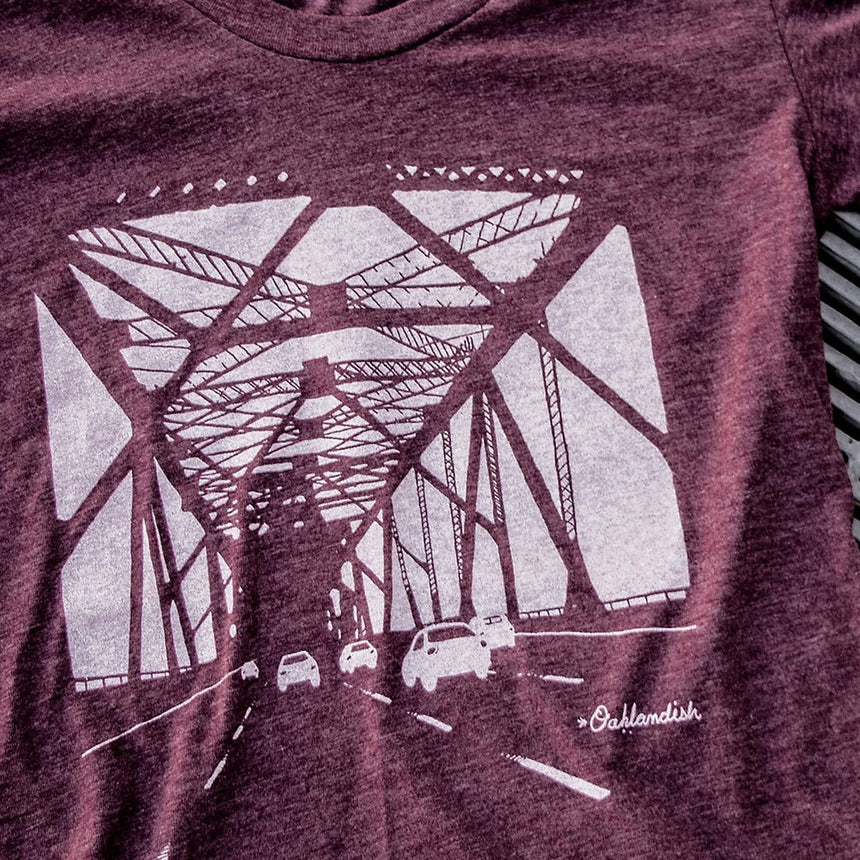 Oaklandish Women's Bay Bridge Tee in Plum